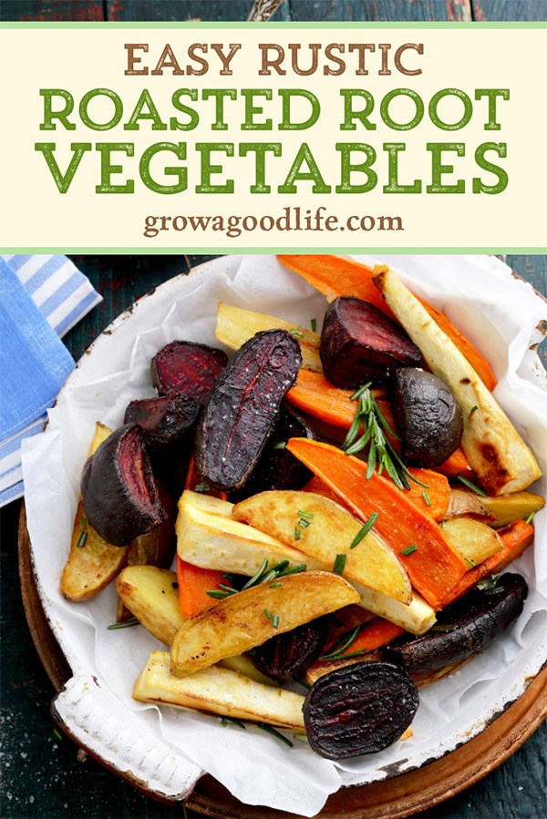 roasted root veggies on a plate with text overlay