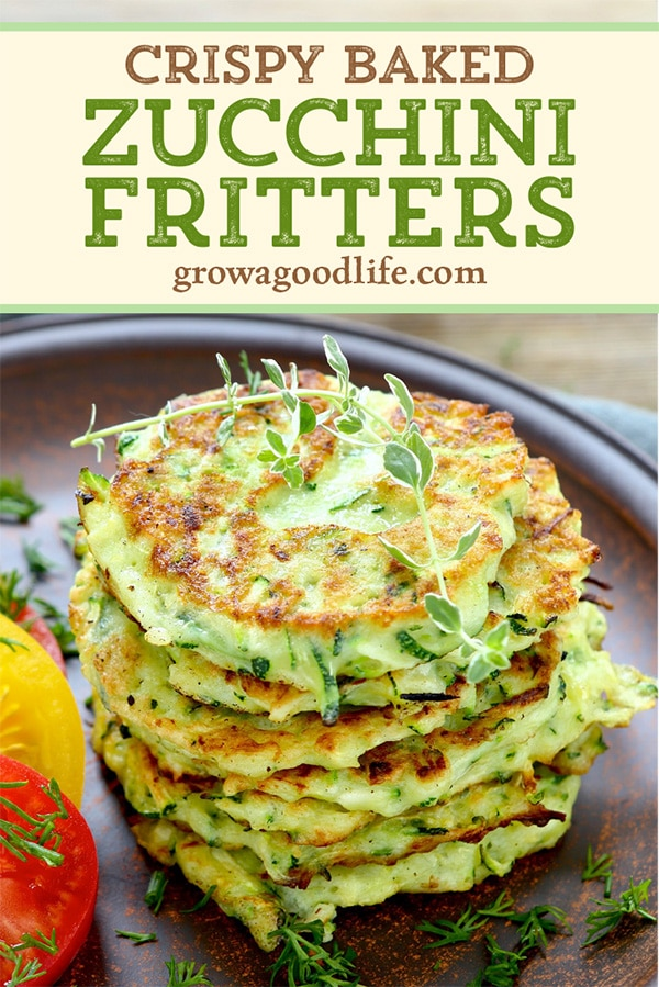 zucchini fritters on a brown plate with text overlay