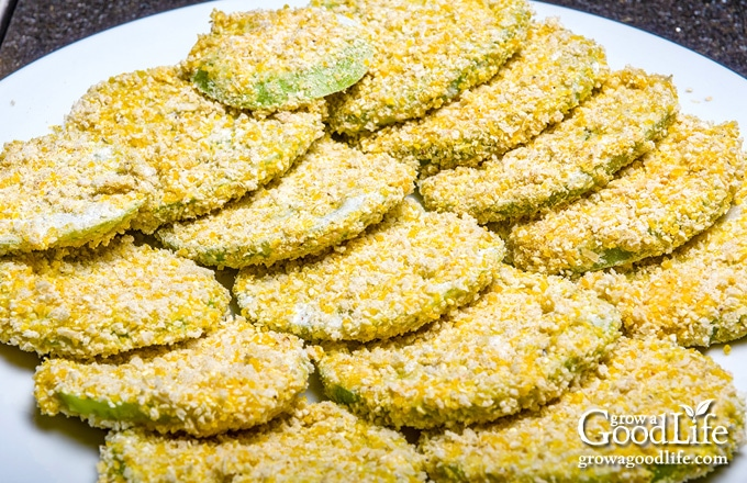 breaded green tomato slices ready to fry
