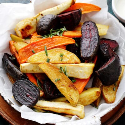 plate of roasted root vegetables on a table