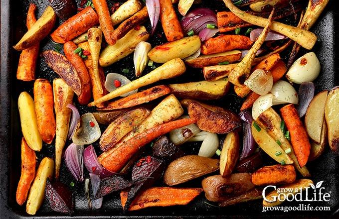 roasted vegetables on baking sheet