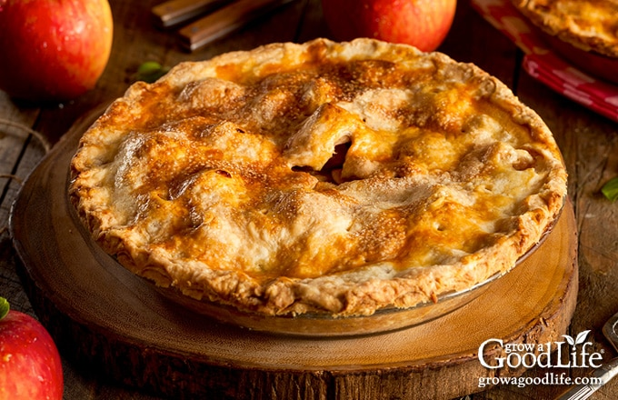 whole apple pie on a table