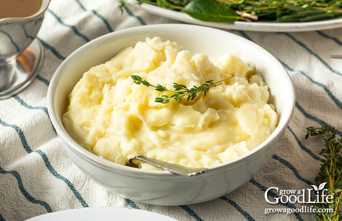 bowl of mashed potatoes on the Thanksgiving table