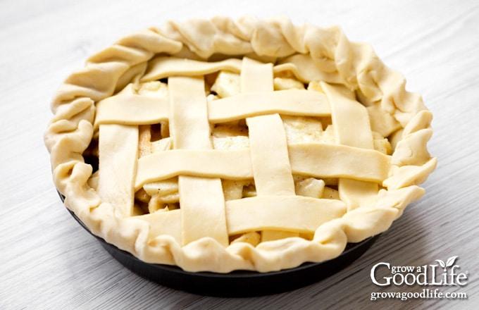 lattice top pie ready for baking