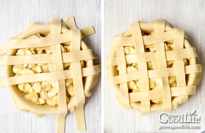 images of strips of pie crust layered over filling