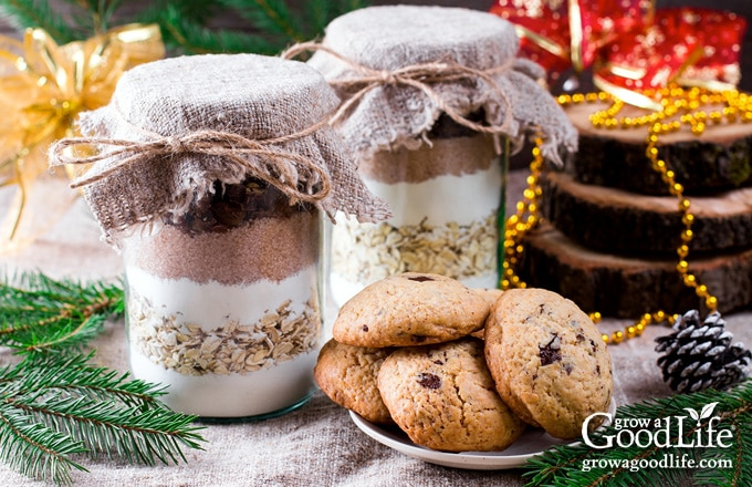 jars of homemade cookie mix gifts on a table