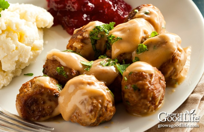 photo of a plate of Swedish meatballs, mashed potatoes, and cranberry sauce on a table