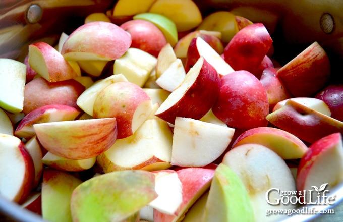 cut apples in a pot