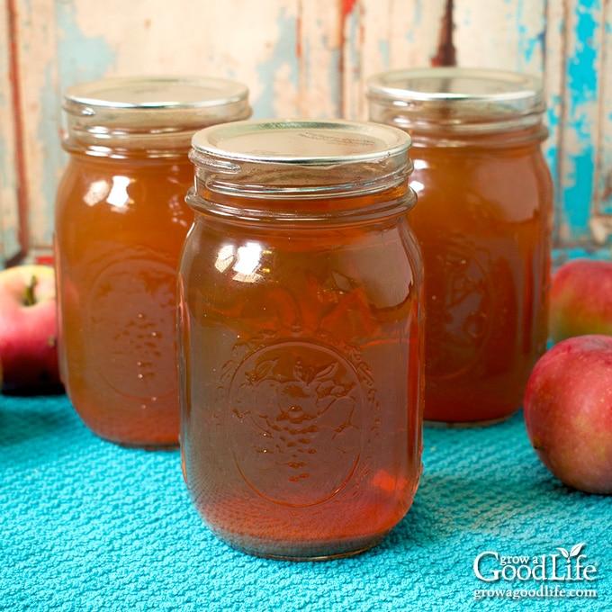jars of canned apple juice on a table