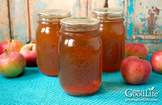mason jars of apple juice on a blue towel