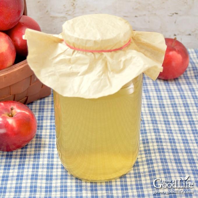 jar of apple vinegar on a table