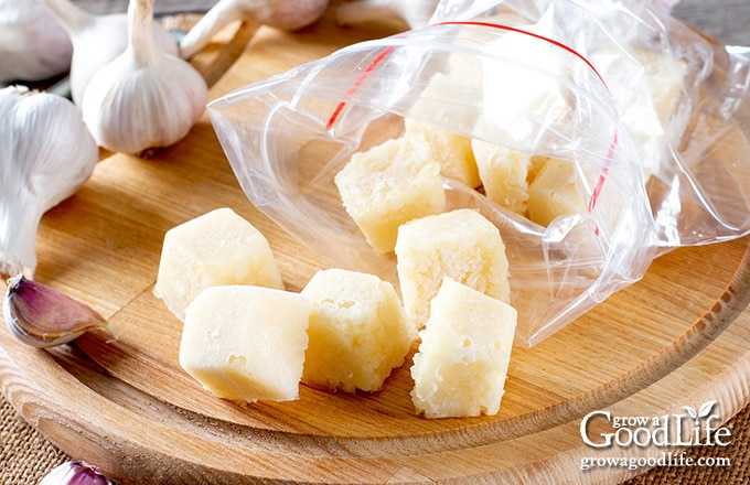 frozen cubes of pureed garlic in oil